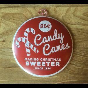 Nostalgic Candy Cane Christmas Hanging Metal Sign